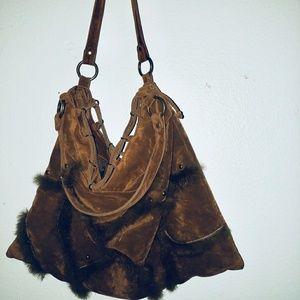 Boho suede and fur hobo bag